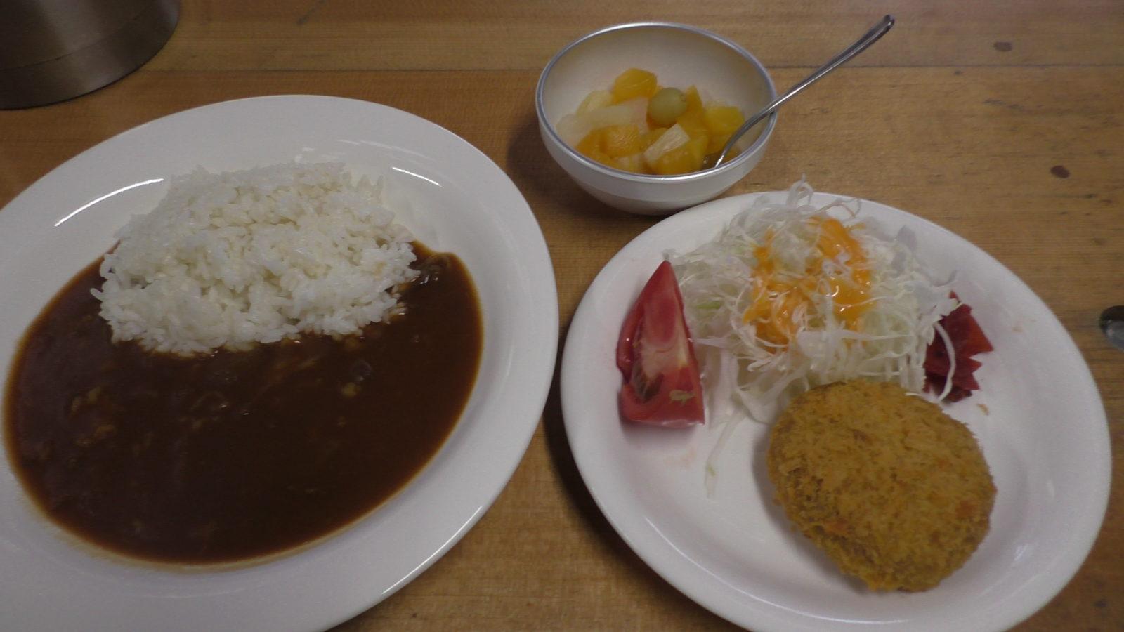 槍温泉小屋の夕食1