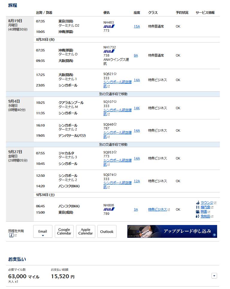 ANA国際線特典航空券